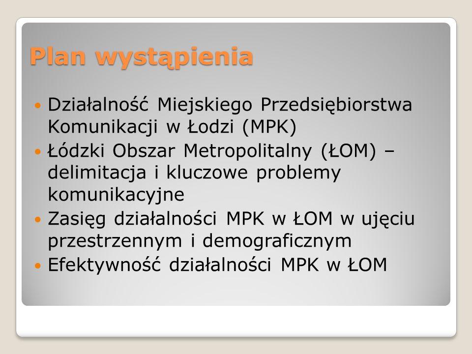 Plan wystąpienia Działalność Miejskiego Przedsiębiorstwa Komunikacji w Łodzi (MPK)
