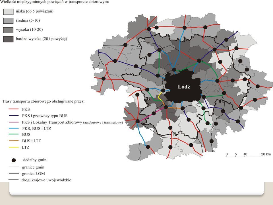 Najważniejszą rolę w strukturze przewozów odgrywają połączenia oferowane przez spółki PKS. W woj. łódzkim swoją siedzibę ma 13 takich spółek, wyodrębnionych z państwowych przedsiębiorstw funkcjonujących do początku lat 90. Większość z nich to firmy prywatne, głównie spółki pracownicze (nieliczne są własnością samorządową lub państwową). Podmioty te mają swoje siedziby w największych miastach regionu: Łodzi, Piotrkowie Trybunalskim, Skierniewicach, Zduńskiej Woli, Sieradzu, Tomaszowie Mazowieckim, Radomsku, Bełchatowie, Kutnie, Łowiczu, Łęczycy, Wieluniu oraz Opocznie.