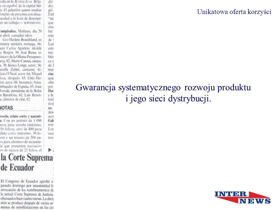 Gwarancja systematycznego rozwoju produktu i jego sieci dystrybucji.