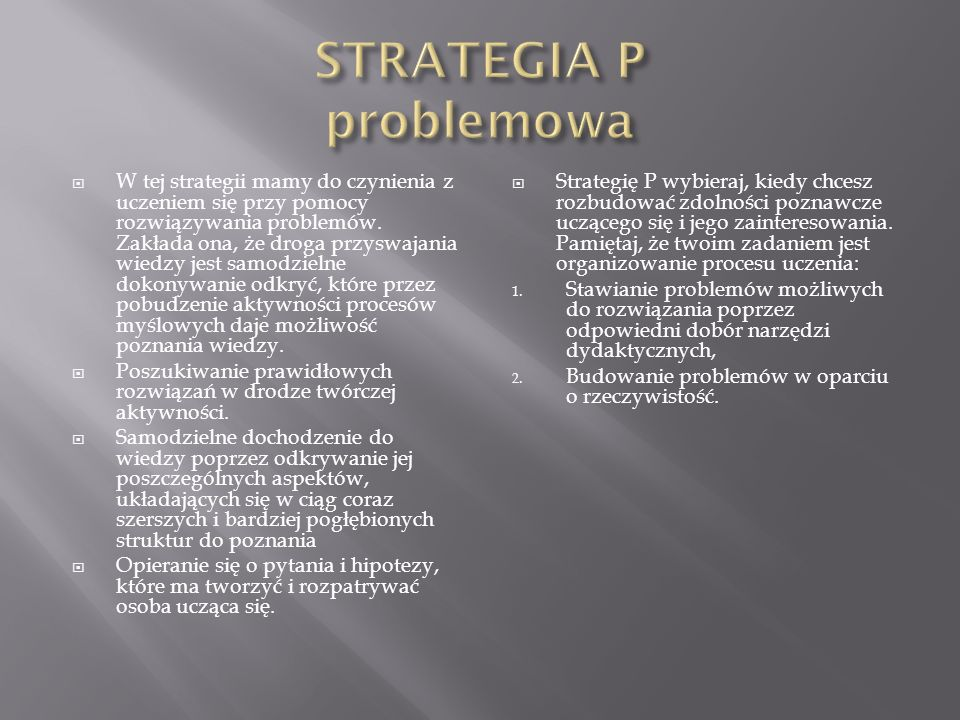 STRATEGIA P problemowa