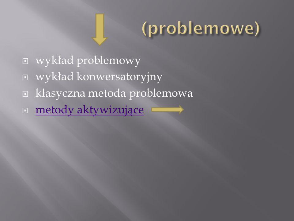 (problemowe) wykład problemowy wykład konwersatoryjny