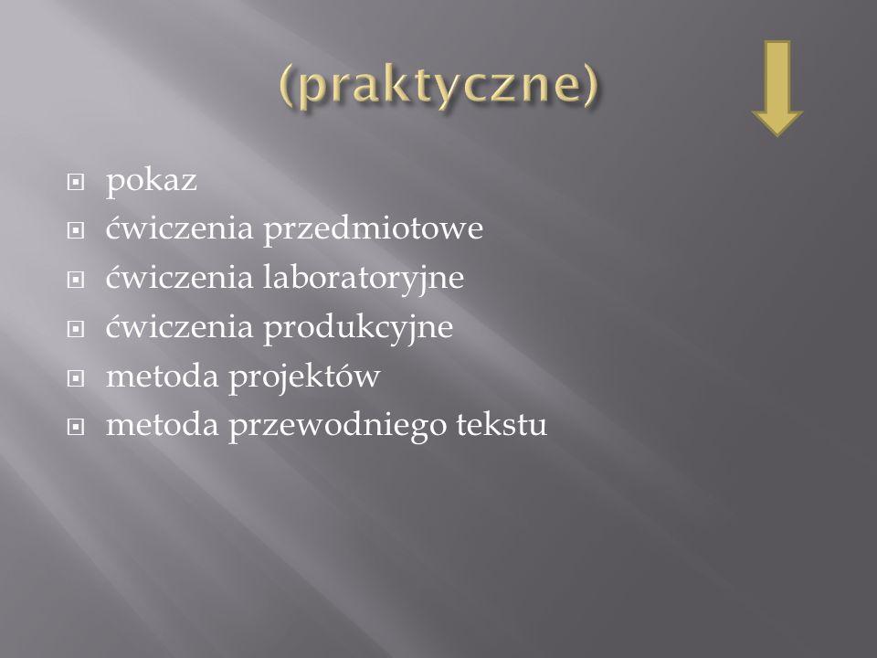(praktyczne) pokaz ćwiczenia przedmiotowe ćwiczenia laboratoryjne