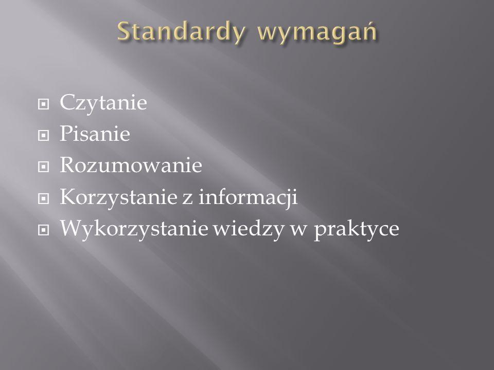 Standardy wymagań Czytanie Pisanie Rozumowanie