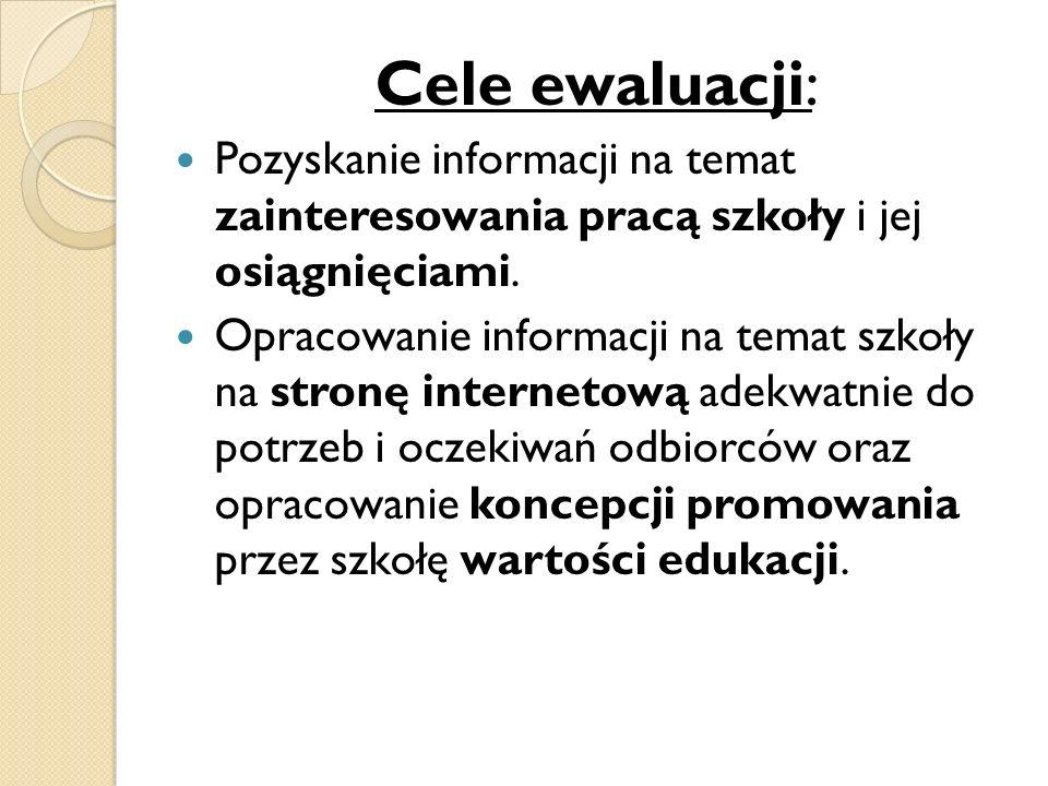Cele ewaluacji: Pozyskanie informacji na temat zainteresowania pracą szkoły i jej osiągnięciami.