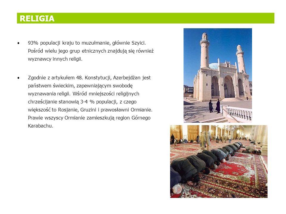 RELIGIA 93% populacji kraju to muzułmanie, głównie Szyici. Pośród wielu jego grup etnicznych znajdują się również wyznawcy innych religii.