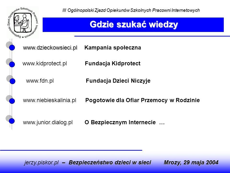 Gdzie szukać wiedzy www.dzieckowsieci.pl Kampania społeczna