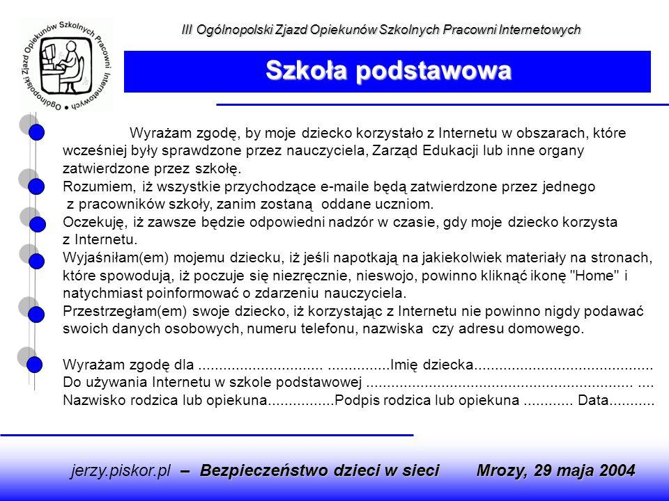 Szkoła podstawowa jerzy.piskor.pl – Bezpieczeństwo dzieci w sieci
