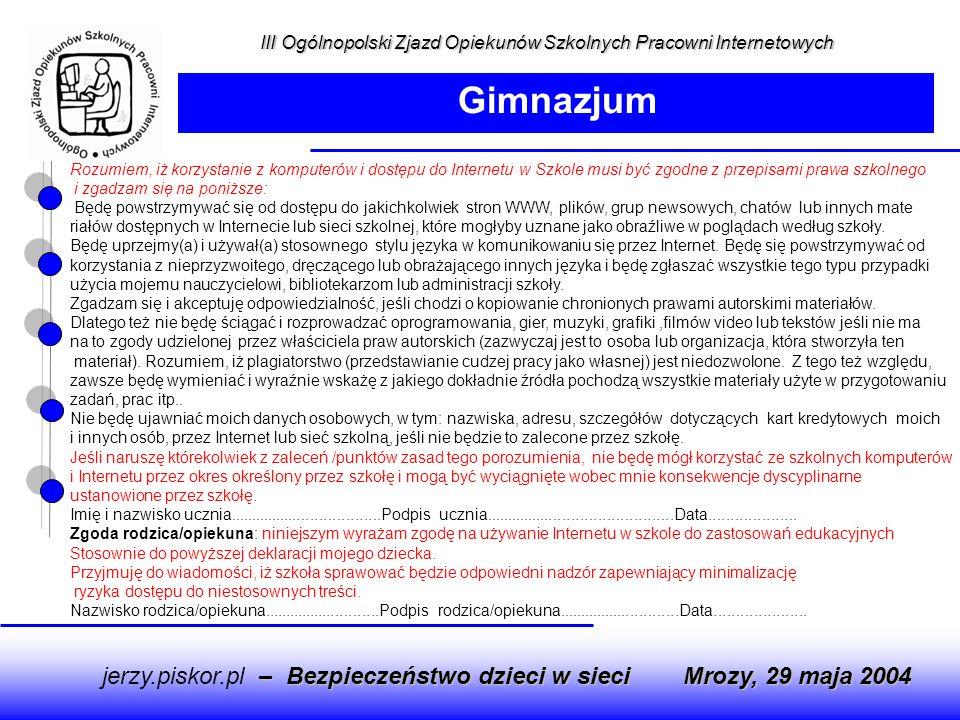 Gimnazjum jerzy.piskor.pl – Bezpieczeństwo dzieci w sieci