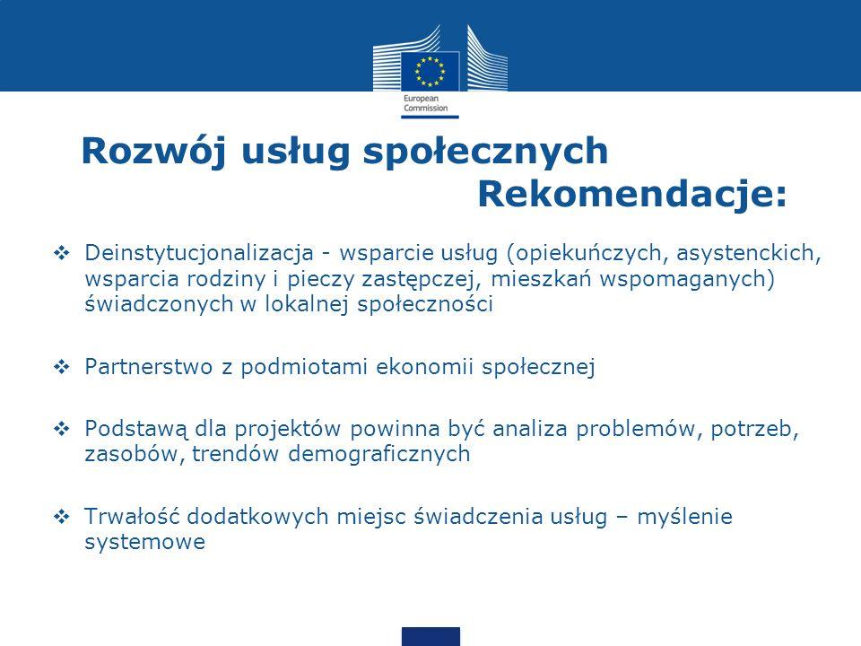 Rozwój usług społecznych Rekomendacje: