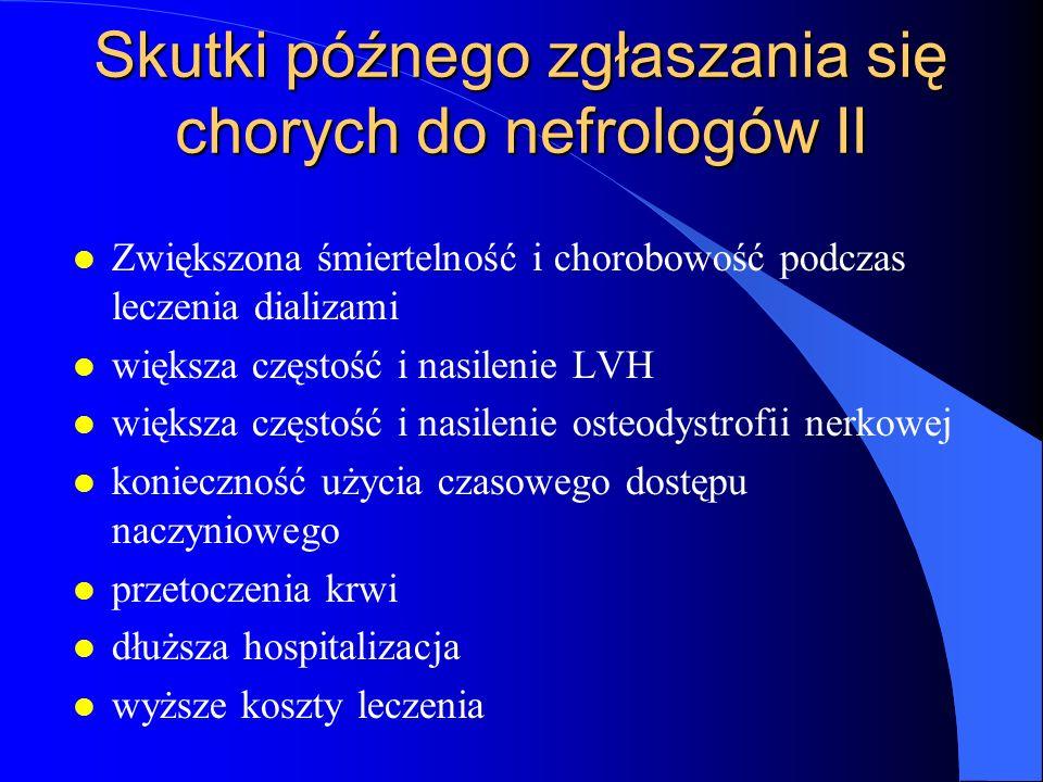 Skutki późnego zgłaszania się chorych do nefrologów II