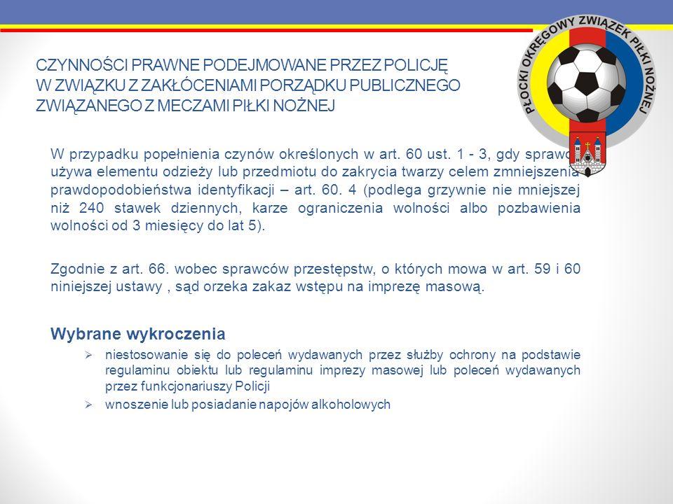 Czynności prawne podejmowane przez Policję w związku z zakłóceniami porządku publicznego związanego z meczami piłki nożnej