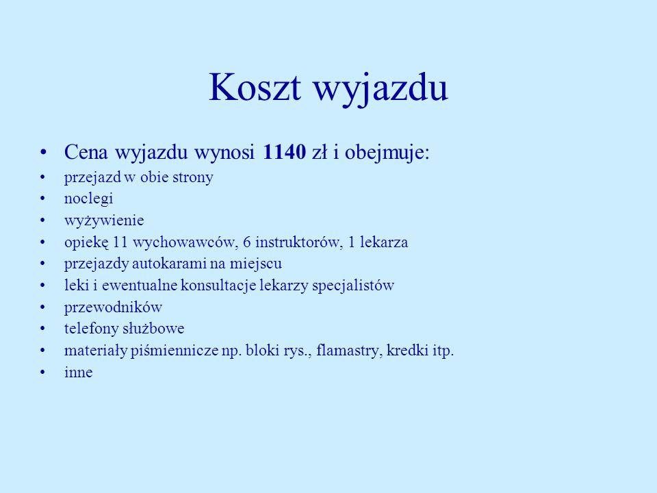 Koszt wyjazdu Cena wyjazdu wynosi 1140 zł i obejmuje: