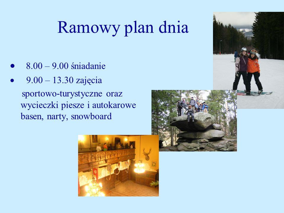 Ramowy plan dnia · 8.00 – 9.00 śniadanie · 9.00 – 13.30 zajęcia