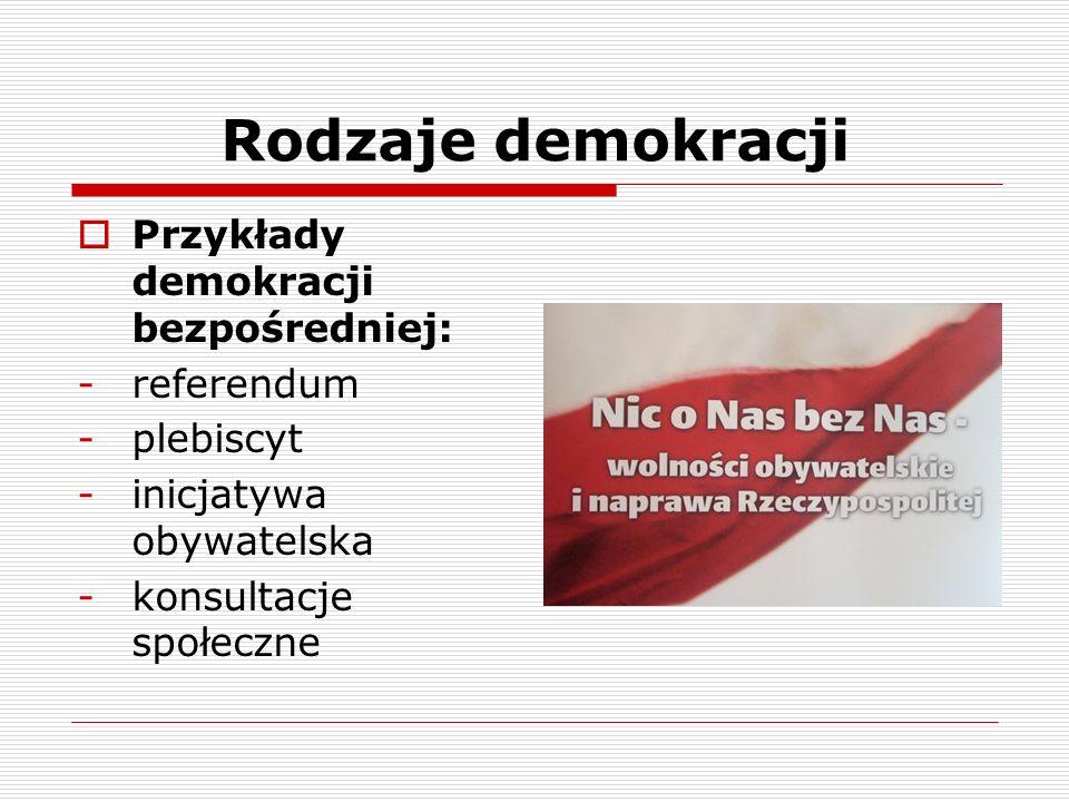 Rodzaje demokracji Przykłady demokracji bezpośredniej: referendum