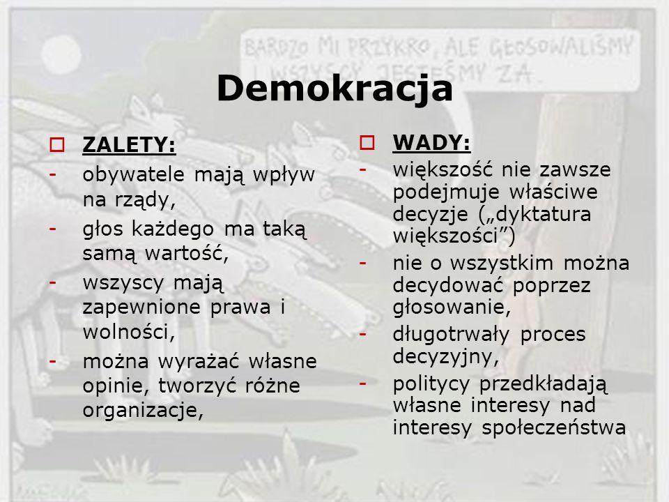 Demokracja ZALETY: obywatele mają wpływ na rządy,
