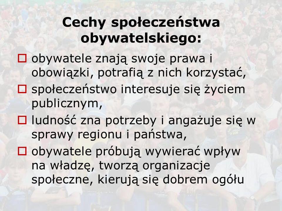Cechy społeczeństwa obywatelskiego:
