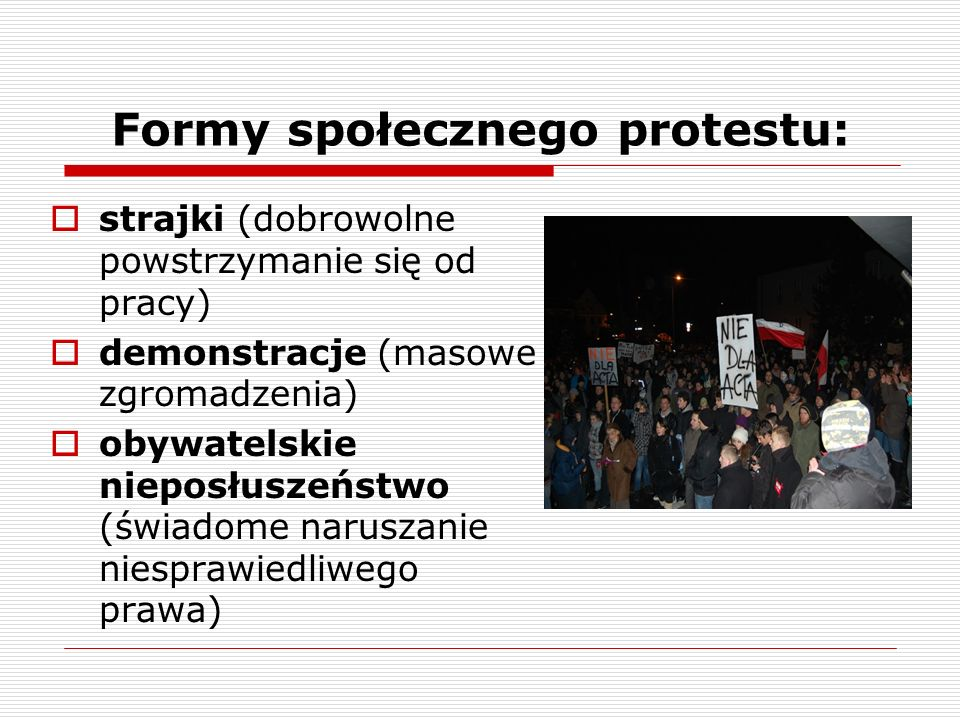 Formy społecznego protestu: