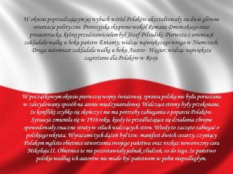 W okresie poprzedzającym jej wybuch wśród Polaków ukształtowały się dwie główne orientacje polityczne. Prorosyjska skupiono wokół Romana Dmowskiego oraz proaustriacka, której przedstawicielem był Józef Piłsudski. Pierwsza z orientacji zakładała walkę u boku państw Entanty, widząc największego wroga w Niemczech. Druga natomiast zakładała walkę u boku Austro - Węgier, widząc największe zagrożenie dla Polaków w Rosji.