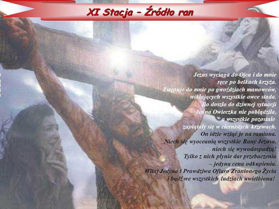 XI Stacja – Źródło ran Jezus wyciąga do Ojca i do mnie