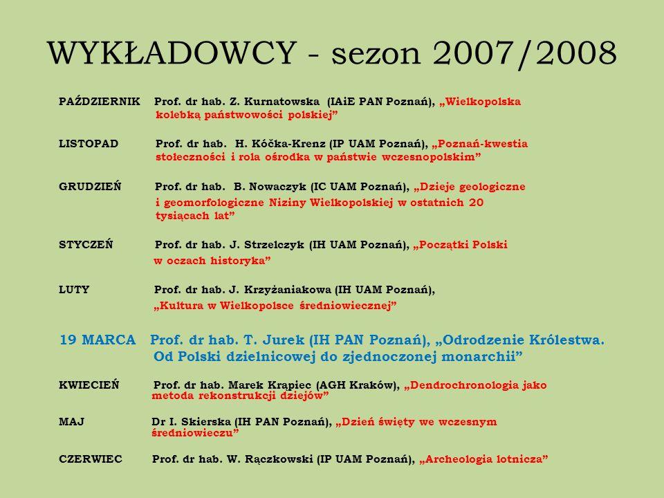 WYKŁADOWCY - sezon 2007/2008