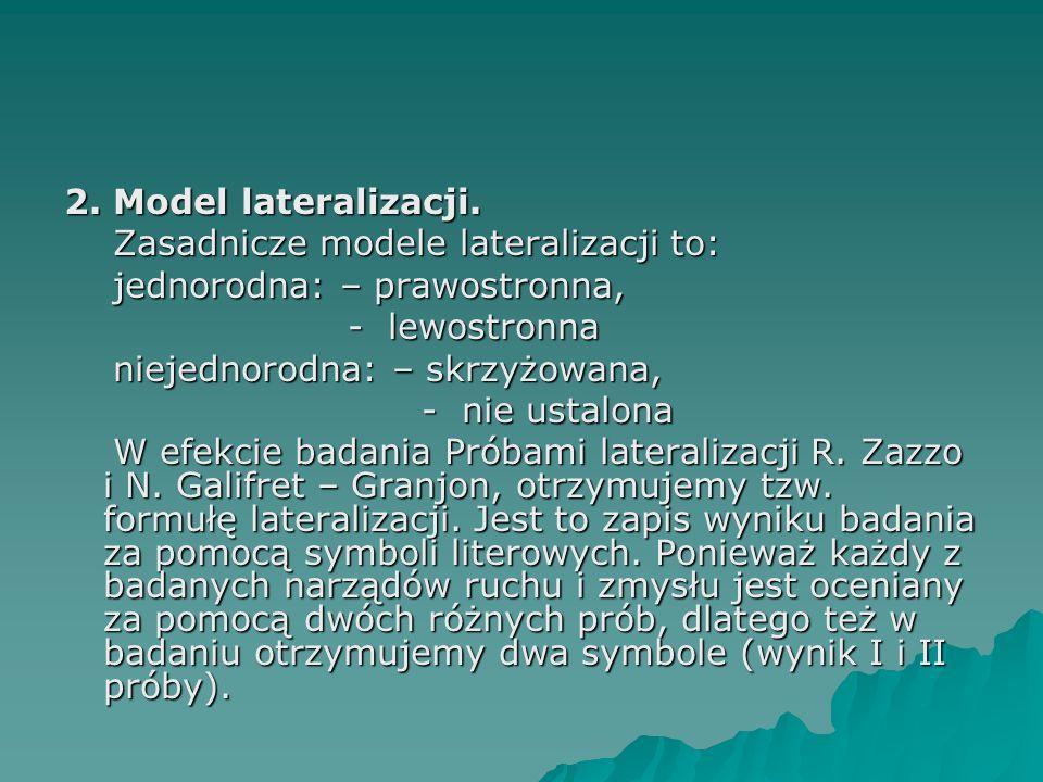 2. Model lateralizacji. Zasadnicze modele lateralizacji to: jednorodna: – prawostronna, - lewostronna.