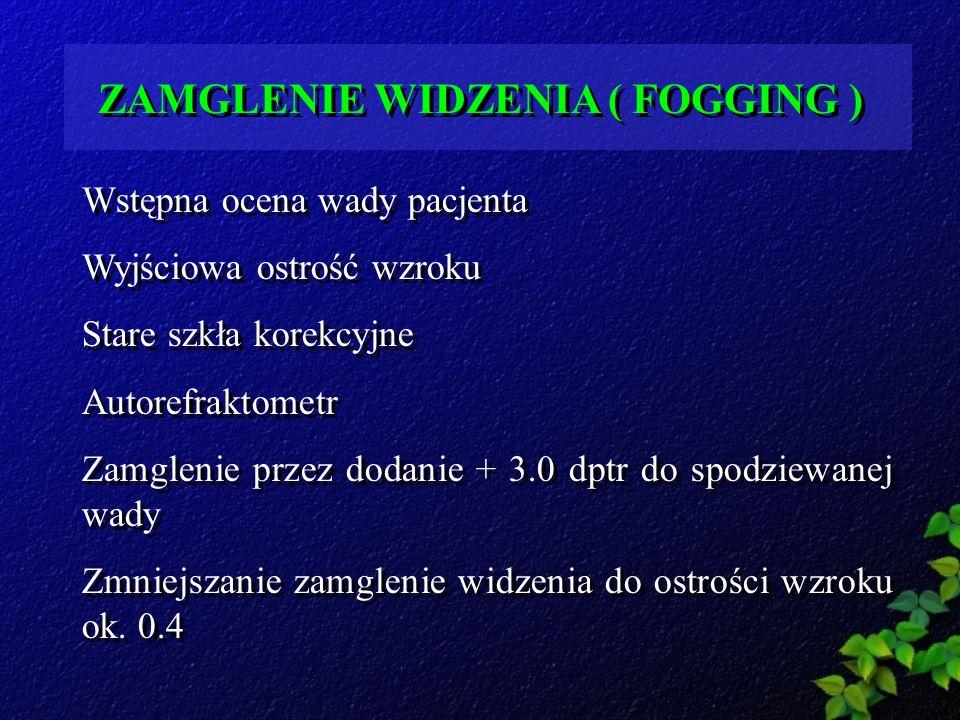 ZAMGLENIE WIDZENIA ( FOGGING )
