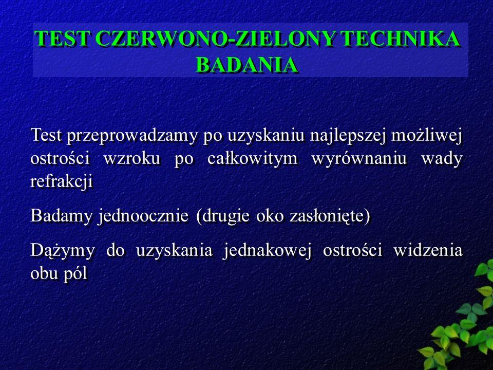 TEST CZERWONO-ZIELONY TECHNIKA BADANIA