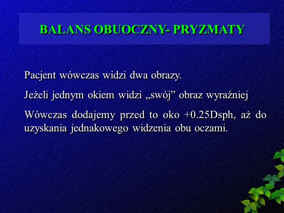 BALANS OBUOCZNY- PRYZMATY