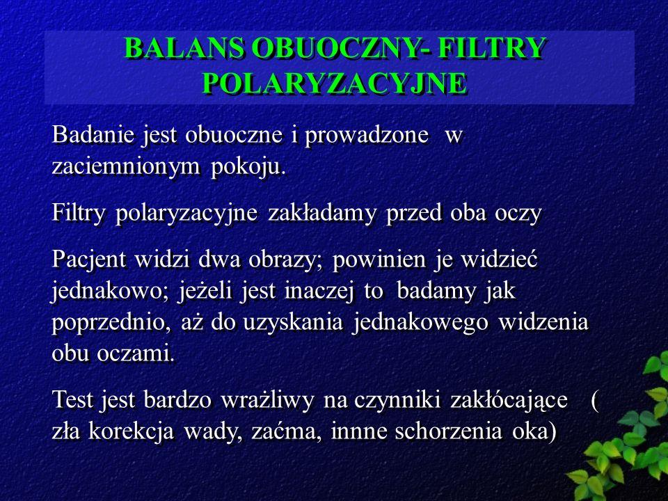 BALANS OBUOCZNY- FILTRY POLARYZACYJNE