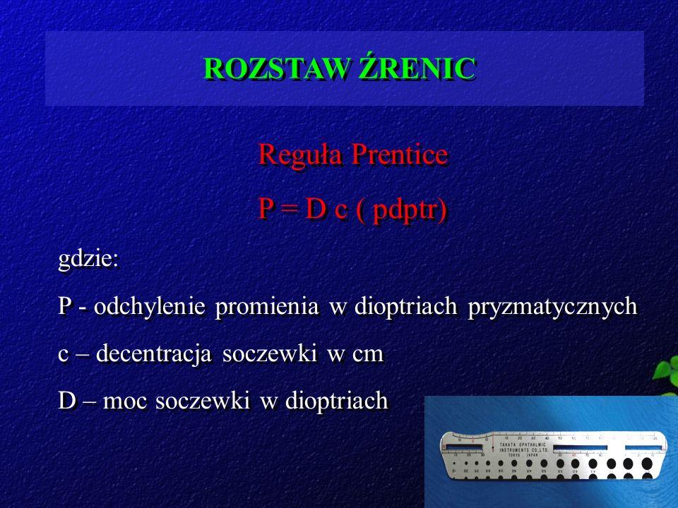 ROZSTAW ŹRENIC Reguła Prentice P = D c ( pdptr) gdzie: