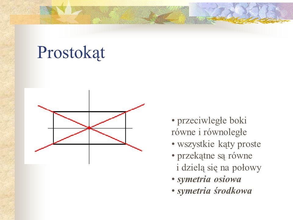 Prostokąt przeciwległe boki równe i równoległe wszystkie kąty proste