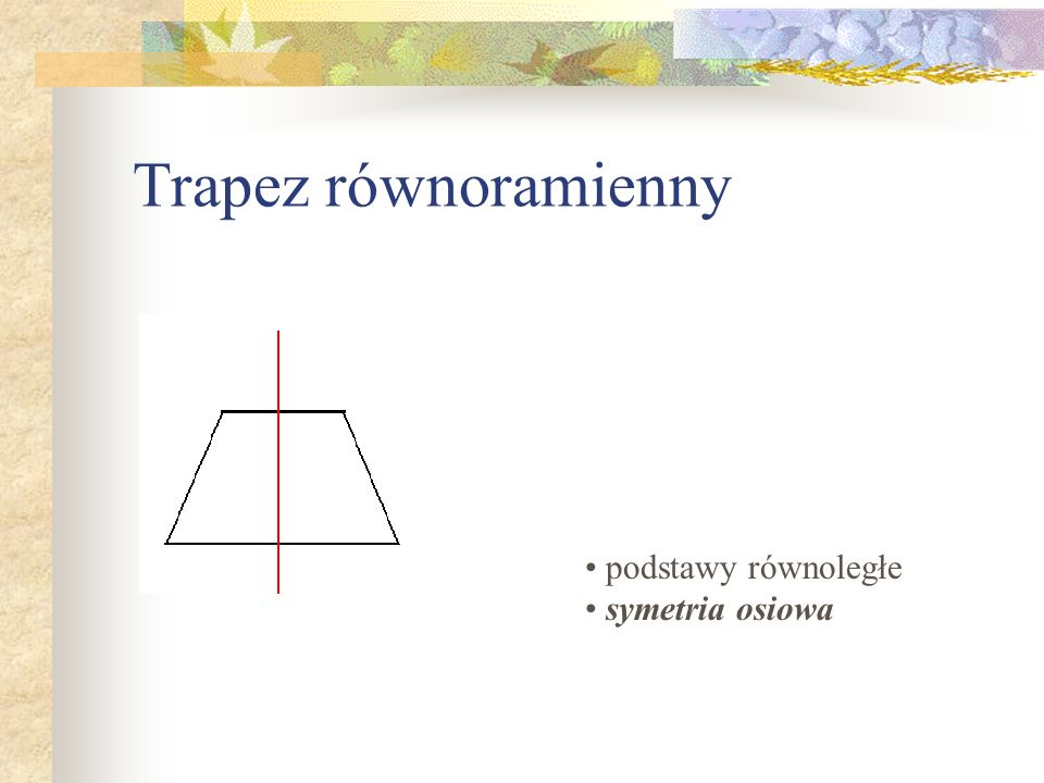 Trapez równoramienny podstawy równoległe symetria osiowa