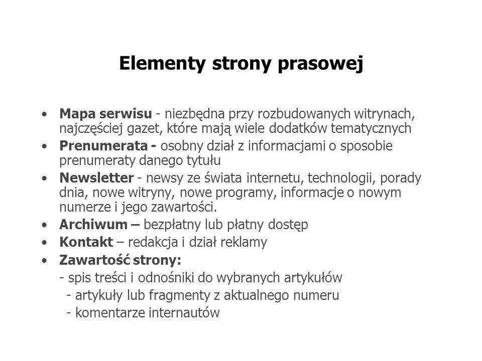 Elementy strony prasowej