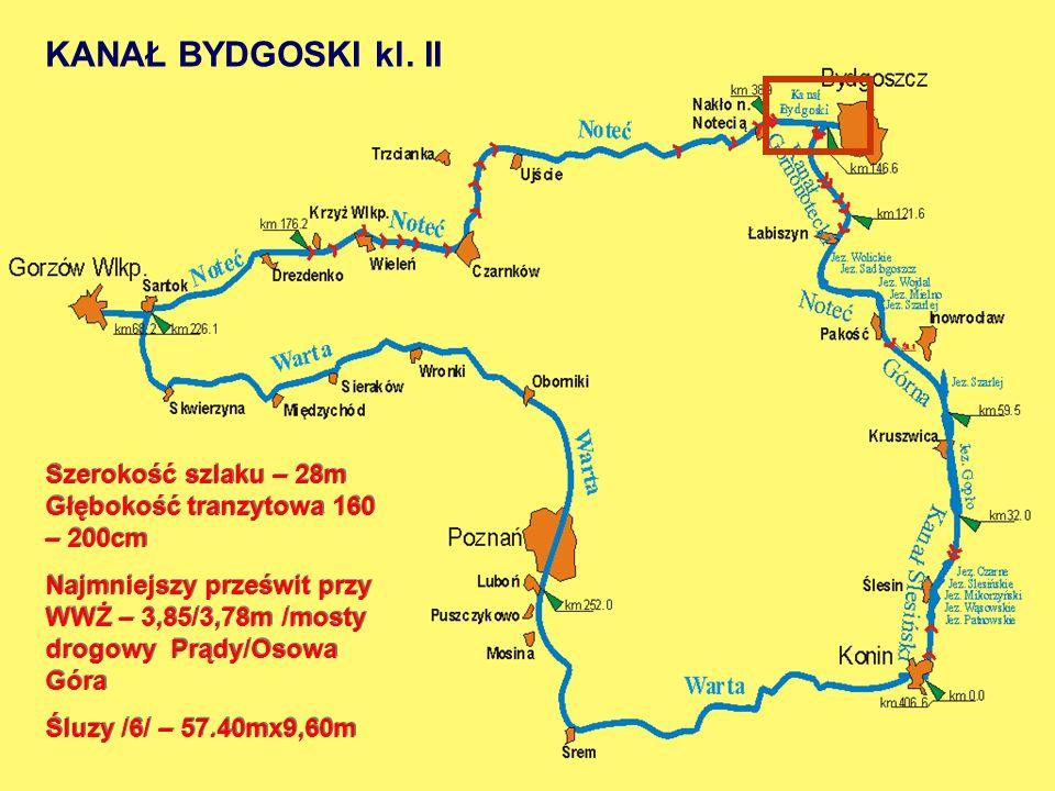 KANAŁ BYDGOSKI kl. II Szerokość szlaku – 28m Głębokość tranzytowa 160 – 200cm.