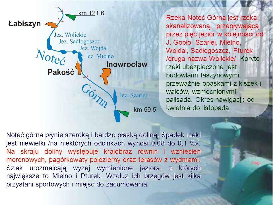 Rzeka Noteć Górna jest rzeką skanalizowaną, przepływającą przez pięć jezior w kolejności od J. Gopło: Szarlej, Mielno, Wojdal, Sadłogoszcz, Pturek /druga nazwa Wolickie/. Koryto rzeki ubezpieczone jest budowlami faszynowymi, przeważnie opaskami z kiszek i walców, wzmocnionymi palisadą. Okres nawigacji: od kwietnia do listopada.