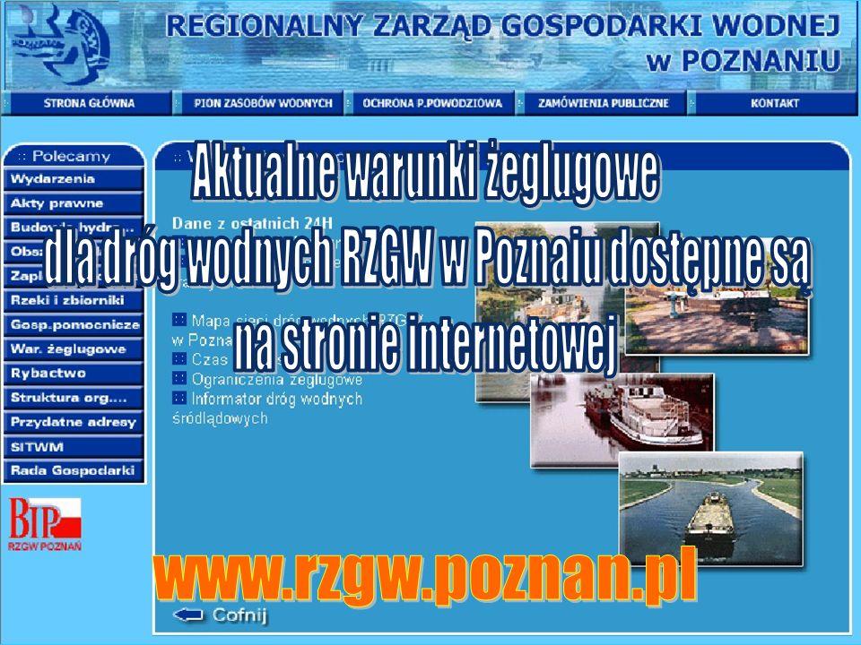 Aktualne warunki żeglugowe dla dróg wodnych RZGW w Poznaiu dostępne są
