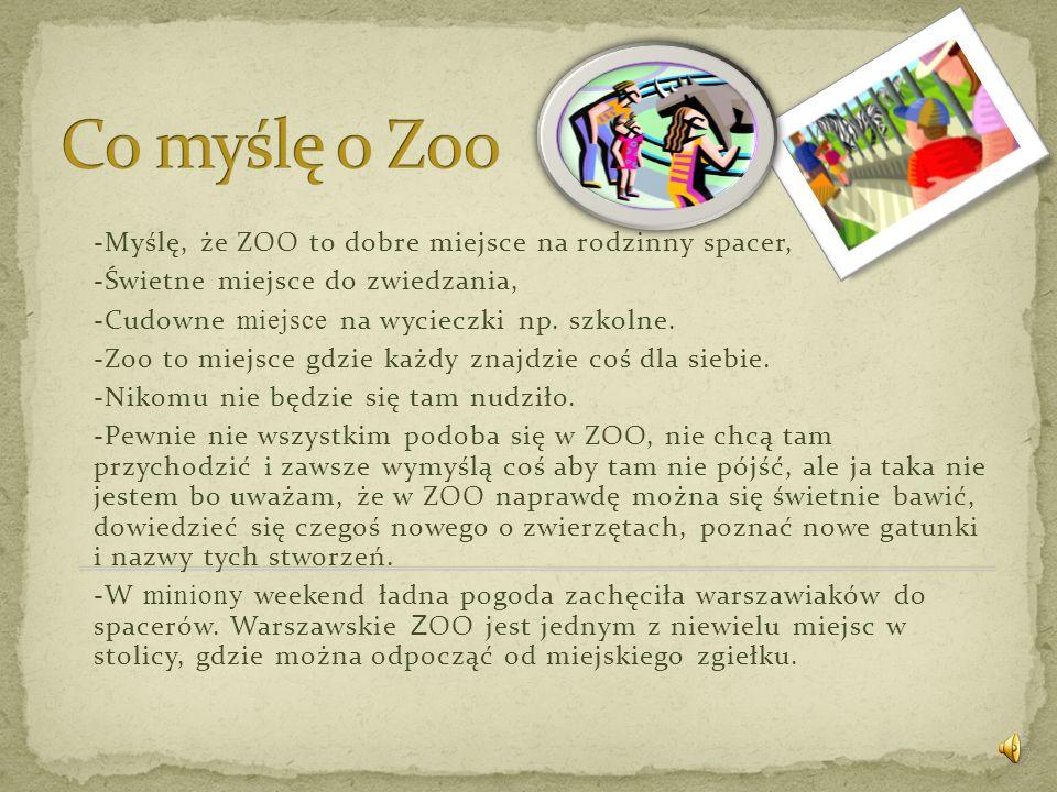 Co myślę o Zoo -Myślę, że ZOO to dobre miejsce na rodzinny spacer,
