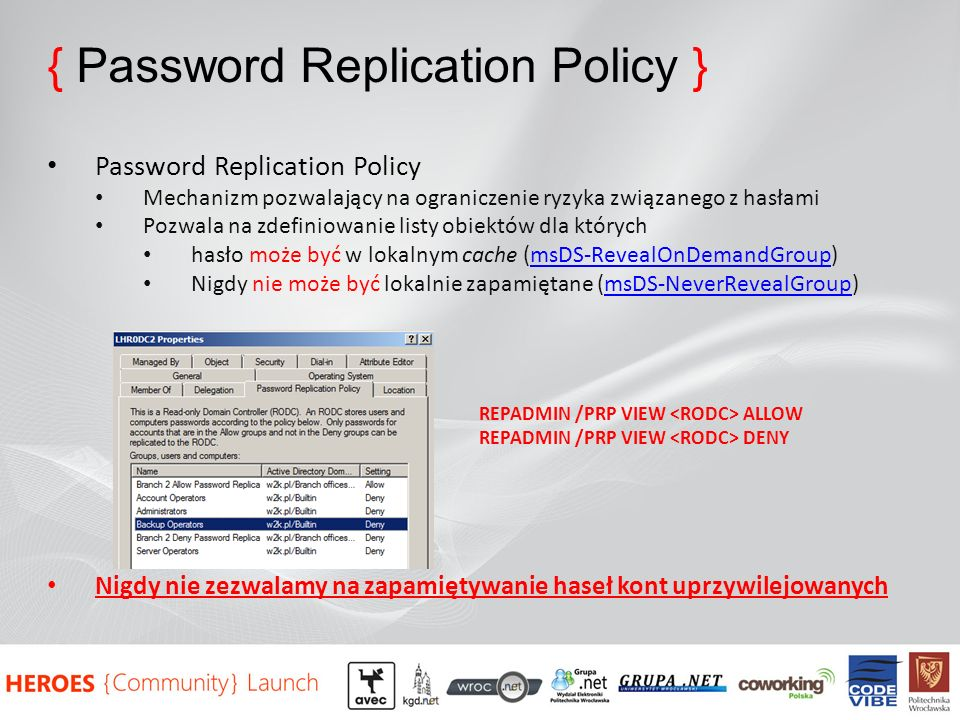 { Password Replication Policy }