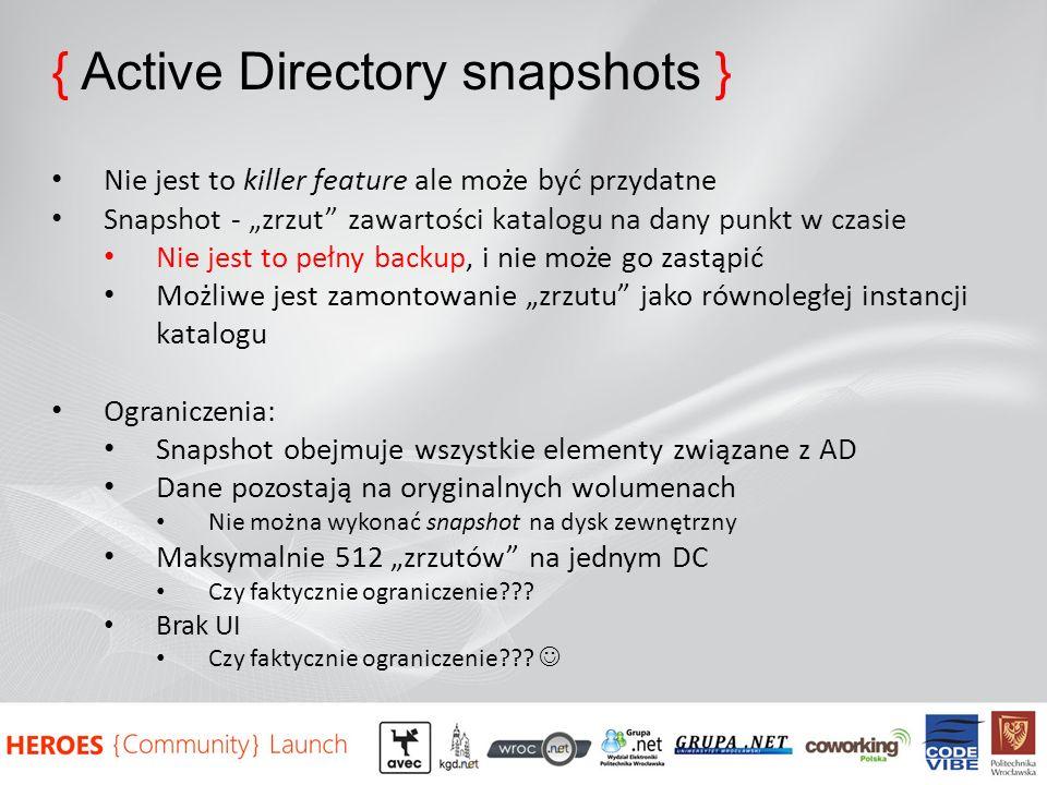 { Active Directory snapshots }