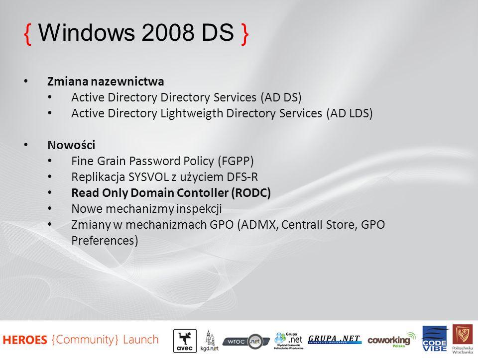 { Windows 2008 DS } Zmiana nazewnictwa