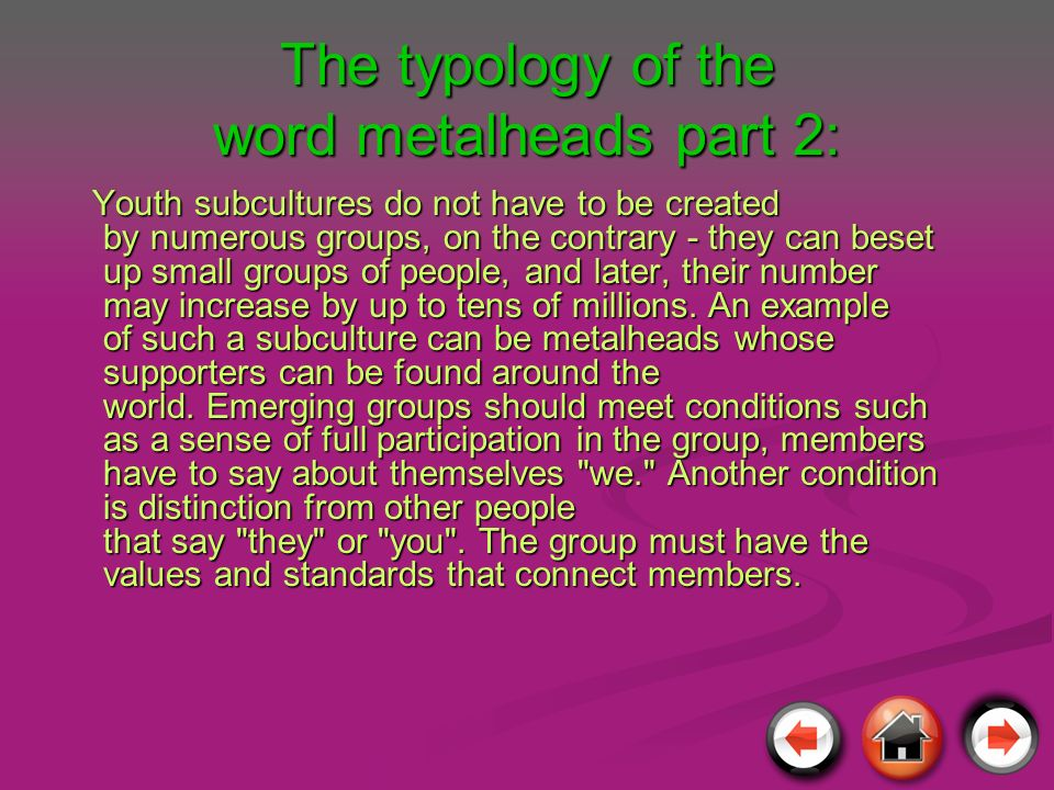 The typology of the word metalheads part 2: