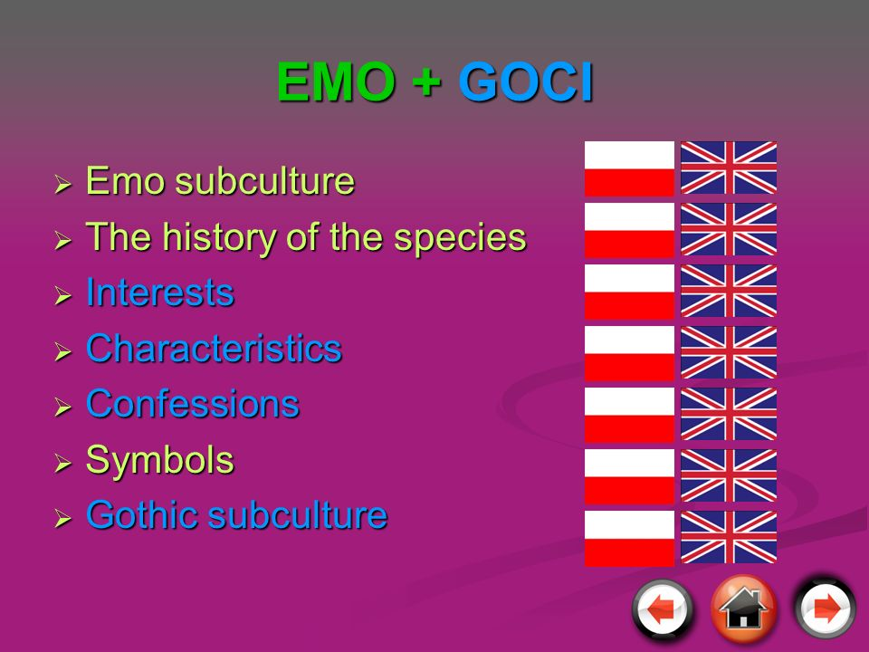 EMO + GOCI Emo subculture The history of the species Interests