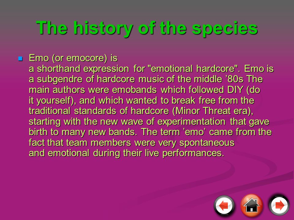 The history of the species