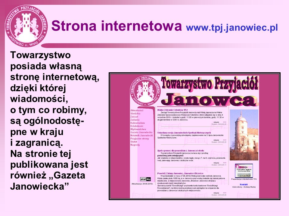 Strona internetowa www.tpj.janowiec.pl