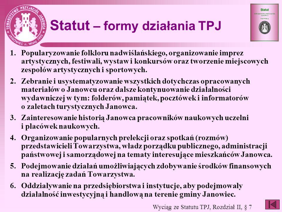 Statut – formy działania TPJ