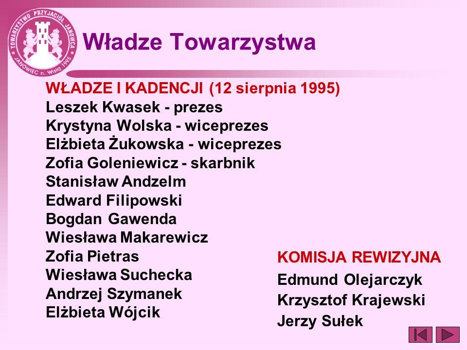 Władze Towarzystwa WŁADZE I KADENCJI (12 sierpnia 1995)