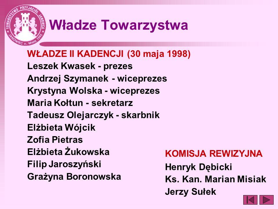 Władze Towarzystwa WŁADZE II KADENCJI (30 maja 1998)