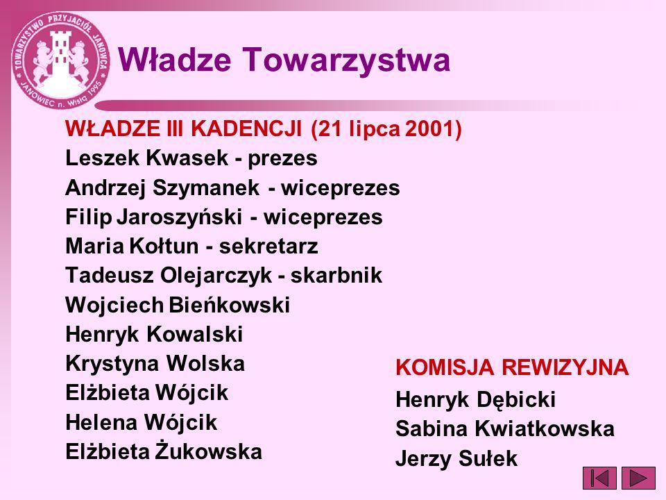 Władze Towarzystwa WŁADZE III KADENCJI (21 lipca 2001)