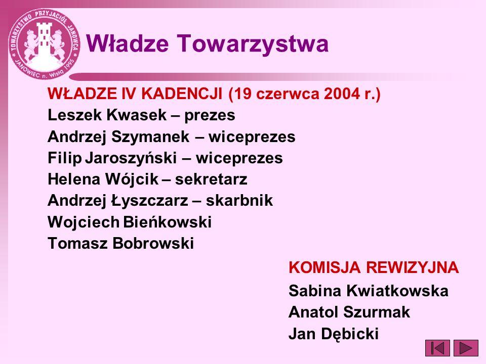 Władze Towarzystwa WŁADZE IV KADENCJI (19 czerwca 2004 r.)