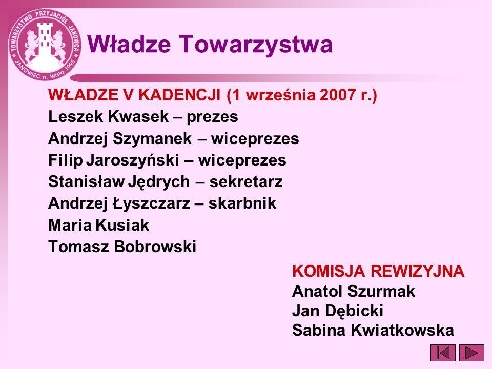 Władze Towarzystwa WŁADZE V KADENCJI (1 września 2007 r.)